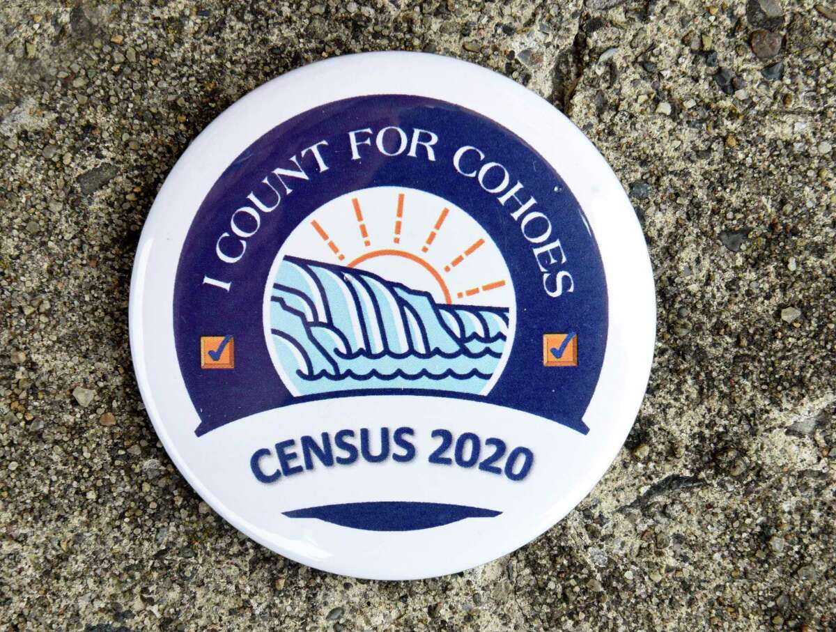 Close up of a Cohoes campaign pin as all numbers are calculated for Census Day at Cohoes City Hall on Wednesday, April 8, 2020 in Cohoes, N.Y. (Lori Van Buren/Times Union)