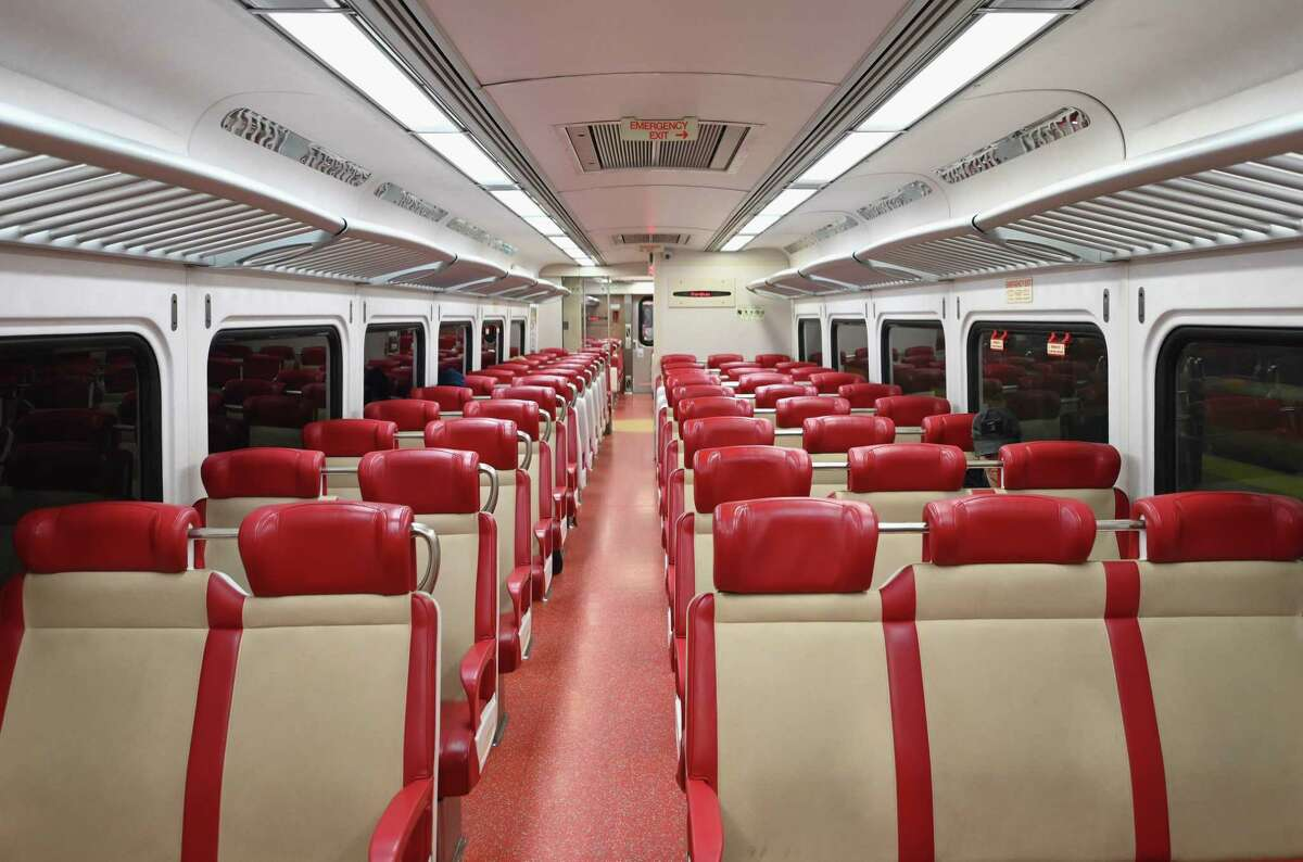 A nearly empty train car of Metro North at Grand Central Station on March 25, 2020 is seen in New York City. - Wall Street stocks jumped early Wednesday as markets awaited a vote on a $2 trillion package agreed by congressional leaders to boost the US economy ravaged by the coronavirus outbreak. (Photo by Angela Weiss / AFP) (Photo by ANGELA WEISS/AFP via Getty Images)