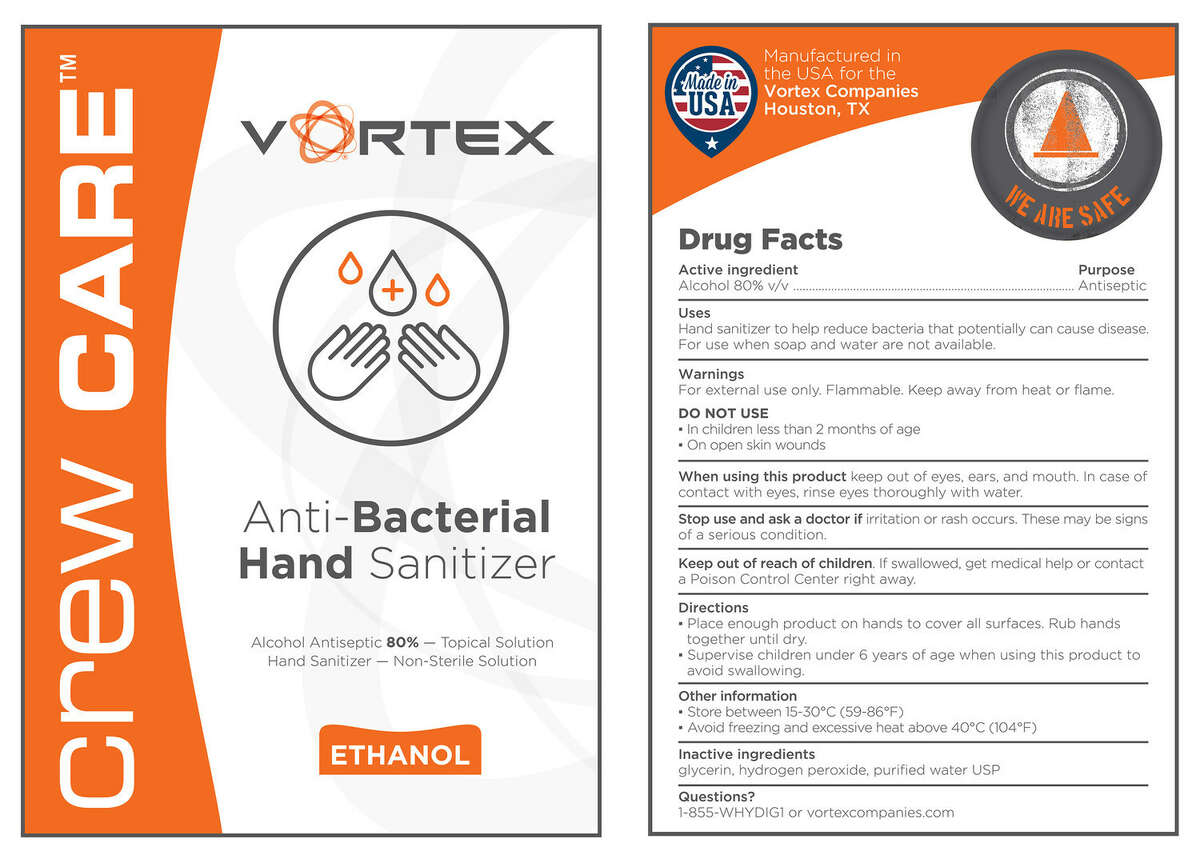 Crew Care hand sanitizer will be available for employees of Vortex Cos. and customers in the construction industry.