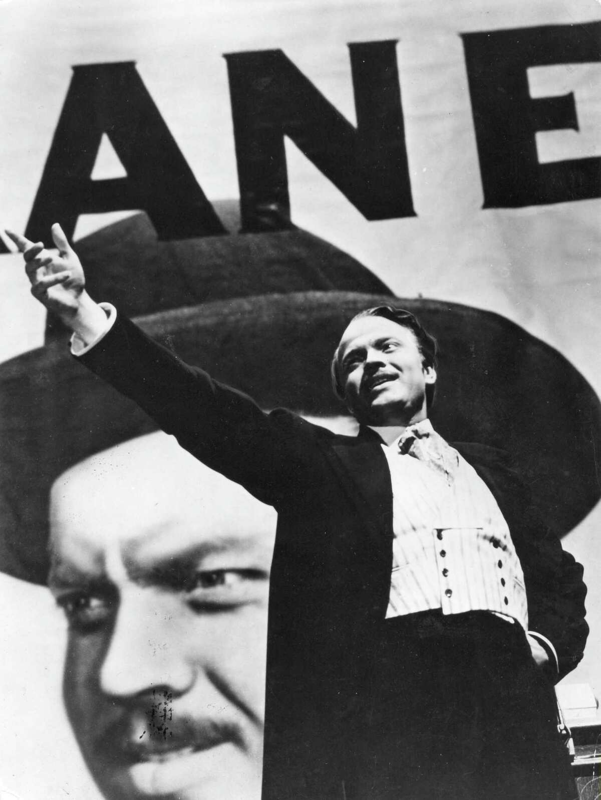 """Orson Welles in a scene from the movie """"Citizen Kane,"""" which he co-wrote with Herman Mankiewicz."""