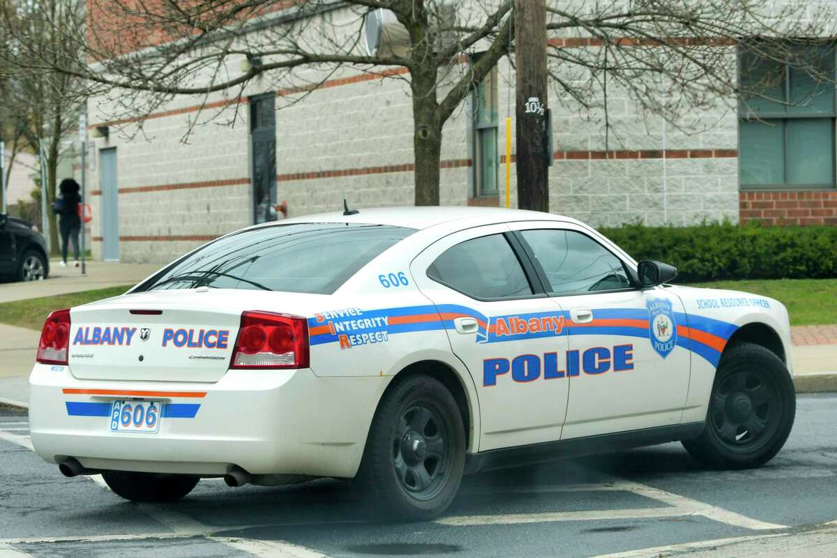 An Albany Police vehicle is driven through the north section of the city on Wednesday, April 8, 2020, in Albany, N.Y. (Paul Buckowski/Times Union)