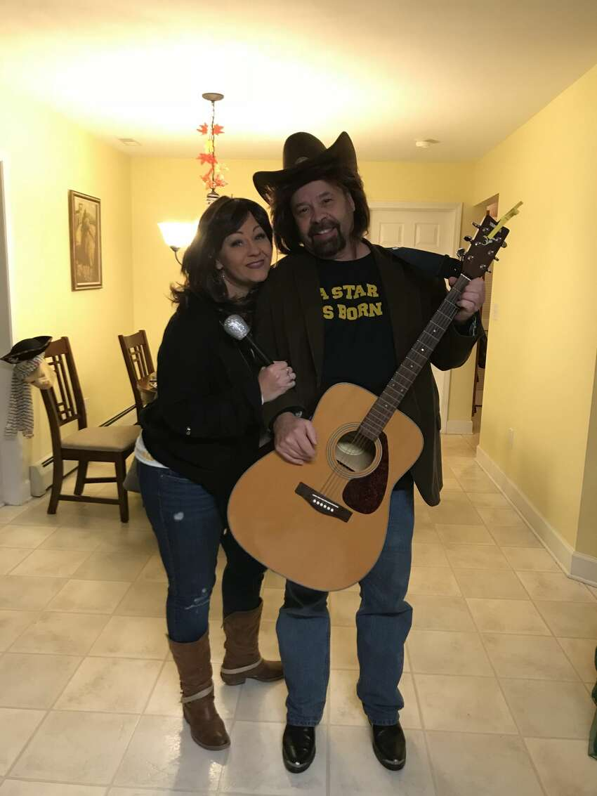 Wendy Hughes and Dennis Evans at a Halloween party hosted by Kelly Gardner last year. They were dressed as Ally and Jack from