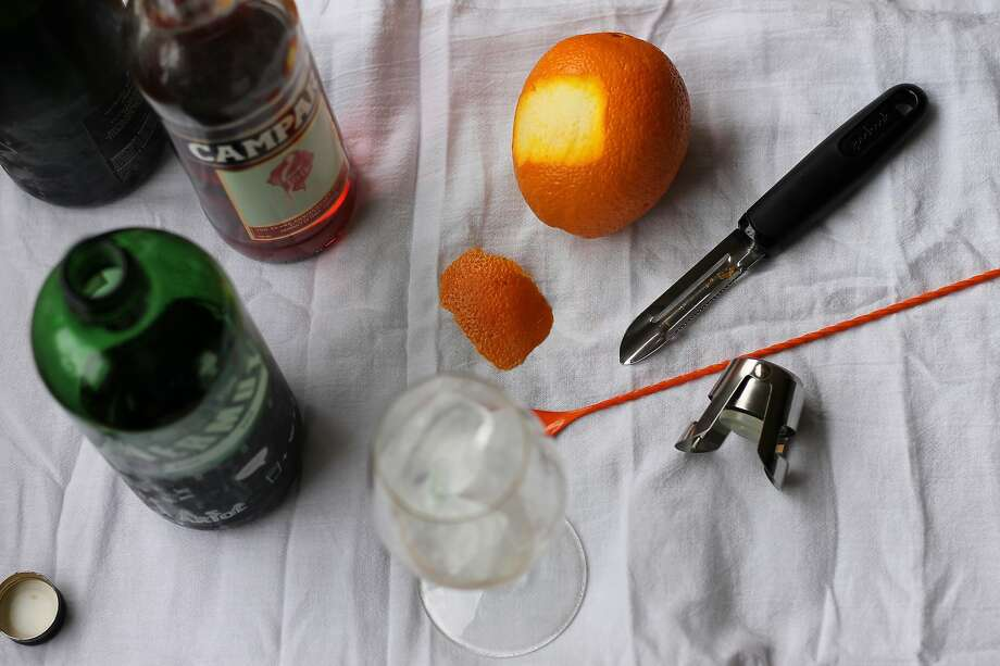A snapshot of my station for making a Negroni Sbagliato cocktail. Photo: Esther Mobley / The Chronicle
