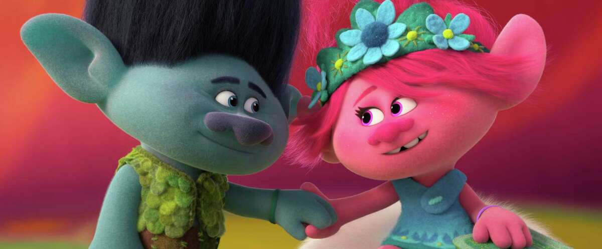 This image released by DreamWorks Animation shows characters Branch, voiced by Justin Timberlake, left, and Poppy, voiced by Anna Kendrick in a scene from
