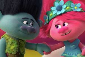 "This image released by DreamWorks Animation shows characters Branch, voiced by Justin Timberlake, left, and Poppy, voiced by Anna Kendrick in a scene from ""Trolls World Tour."" (DreamWorks Animation via AP)"