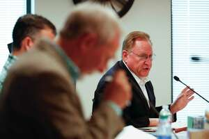 Montgomery County Judge Mark Keough addresses need to extend the county's disaster declaration during an emergency Montgomery County Commissioners Court meeting, Wednesday, April 8, 2020, in Conroe. The court voted to extend the county's disaster declaration to May 11.