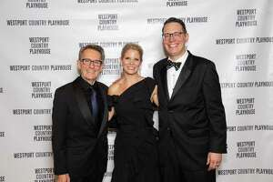 """Westport Country Playhouse (WCP) has announced its revised schedule for this year, and virtual events are on the way, including """"Getting to Know You: A Celebration of Young Artists,"""" April 17. Broadway star Kelli O'Hara will host, in partnership with WCP's education and community outreach department. From left are Mark Lamos, artistic director, O'Hara and Michael Barker, managing director, at last year's WCP gala."""