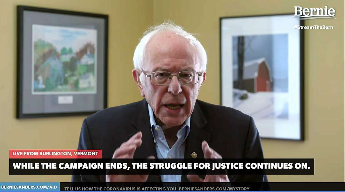 In this video still image from the Bernie Sanders Presidential Campaign, Sanders announces the suspension of his presidential campaign on April 8, 2020, from Burlington, Vermont. - Sander's decision clears the way for rival Joe Biden to become the Democratic nominee to challenge Republican incumbent Donald Trump in November.