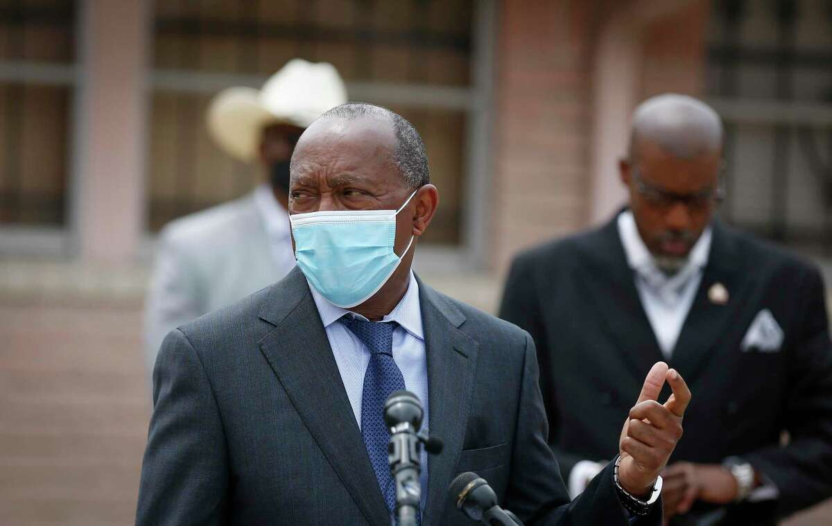 Houston Mayor Sylvester Turner and other ministers urged people to stay home for Easter at a press conference in the parking lot of Mount Hebron Missionary Baptist Church Wednesday, April 8, 2020, in Houston.