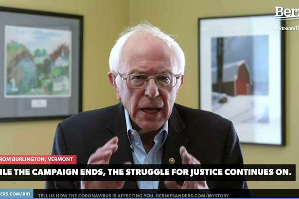 In this video still image from the Bernie Sanders presidential campaign, Sanders announces the suspension of his campaign on Wednesday from Burlington, Vermont.