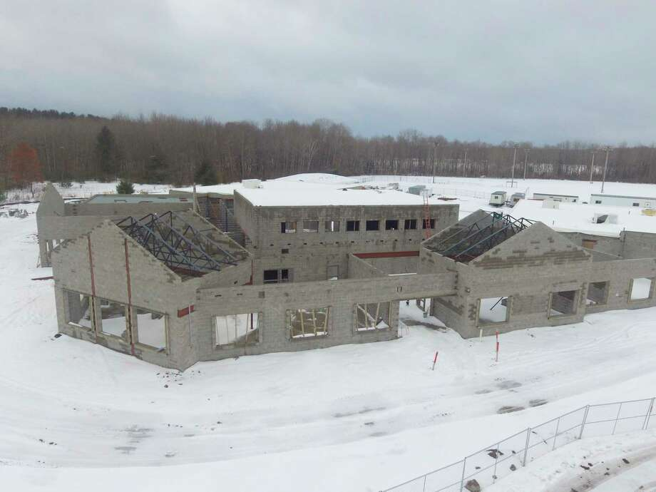 Pictured is progress made on the new Barryton Elementary School building as of February. Construction was originally set to be complete by the fall. (Courtesy photos)