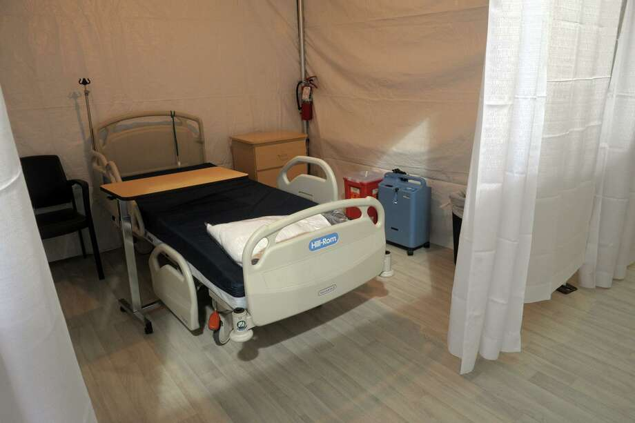 Bridgeport Hospital has built a 32-bed field tent next to their main building in Bridgeport, Conn., seen here April 8, 2020. The tent will accommodate low-acuity patients while the main hospital prepares for an increase of patients due to the current COVID-19 outbreak. Photo: Ned Gerard / Hearst Connecticut Media / Connecticut Post