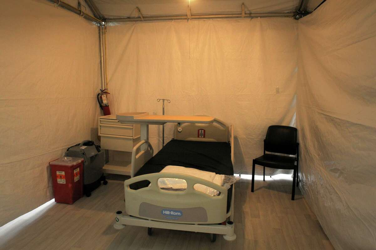 Bridgeport Hospital has built a 32-bed field tent next to their main building in Bridgeport, Conn., seen here April 8, 2020. The tent will accommodate low-acuity patients while the main hospital prepares for an increase of patients due to the current COVID-19 outbreak.