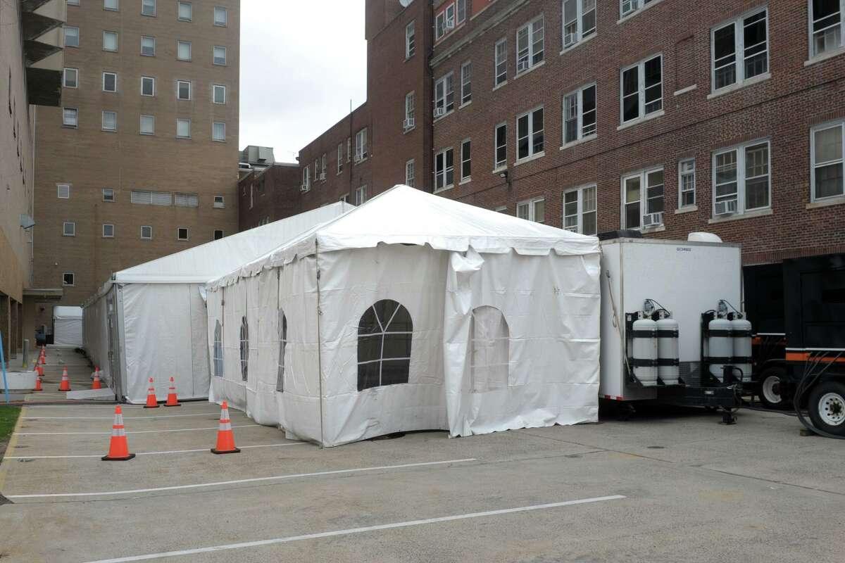 Bridgeport Hospital has built a 32-bed field tent next to its main building in Bridgeport, Conn., seen here April 8, 2020.