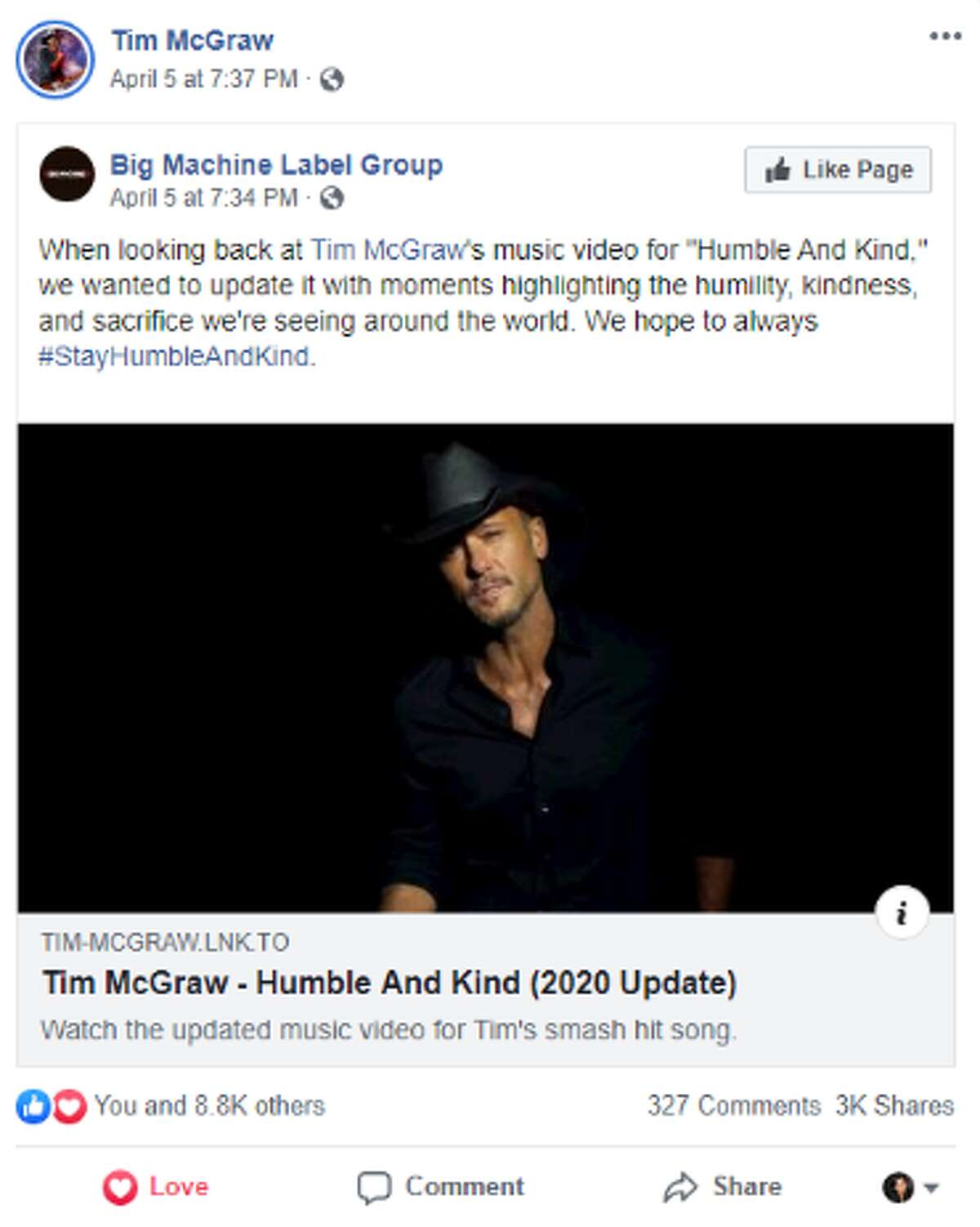 Tim McGraw's record label Big Machine Label Group recently updated the video to his hit song
