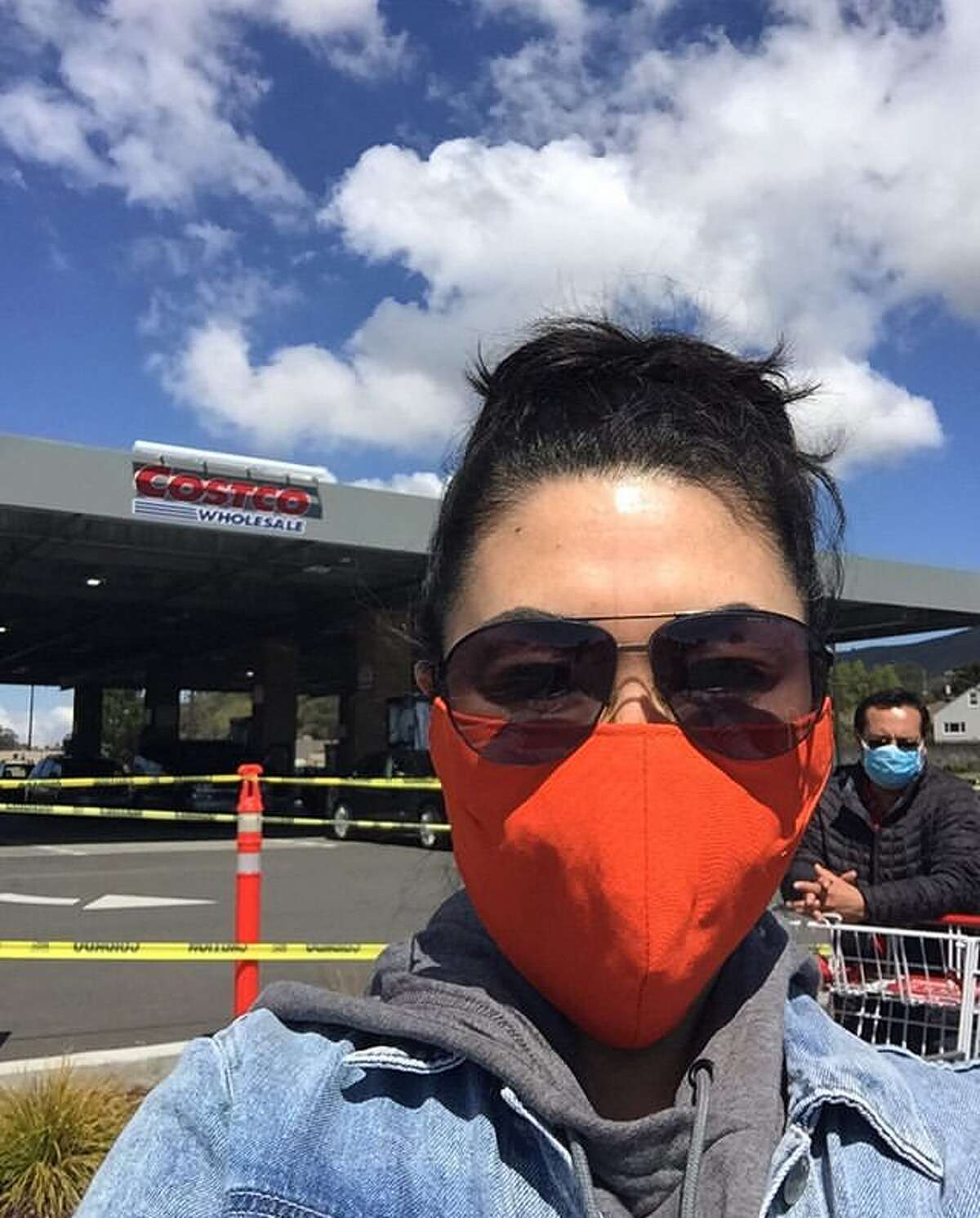 @susiejim wearing a homemade mask in line at Costco.