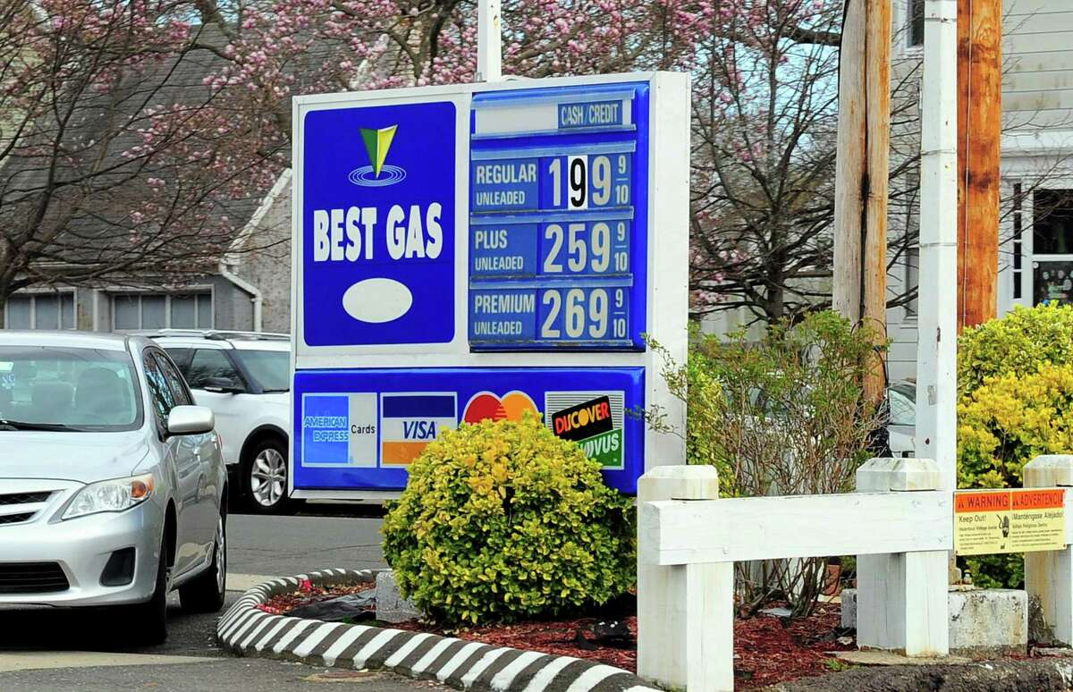 Gas prices are below $2 a gallon at a station along Campbell Ave in West Haven, Conn., on Wednesday Apr. 8, 2020. It is the first in over four years that gas has dropped that low since the coronavirus has forced a statewide stay-at-home order.