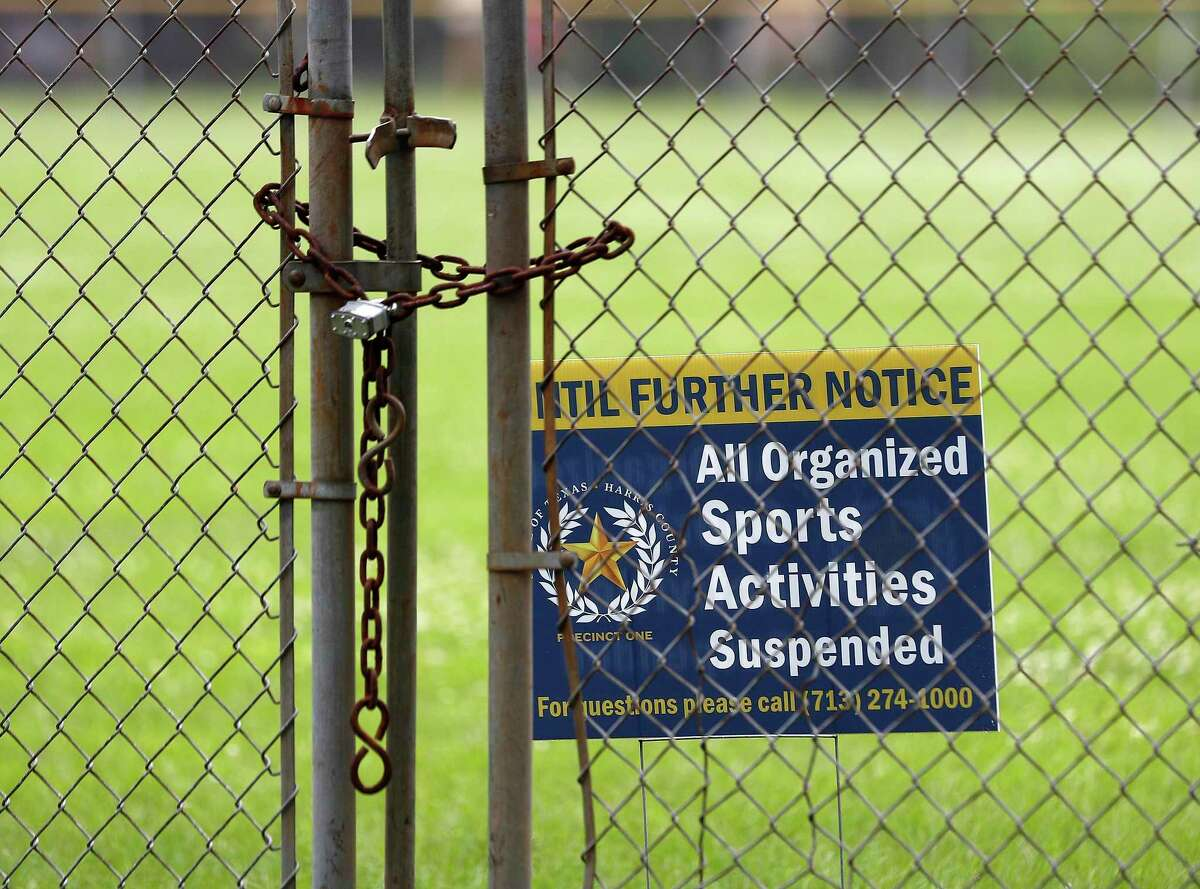 Harris County Precinct One's Finnigan Park, at 4900 Providence Street, in Houston,Wednesday, April 8, 2020. This is one of many Harris County parks to close for Easter weekend, over fears that crowds will congregate, while Houston leaves their parks open.