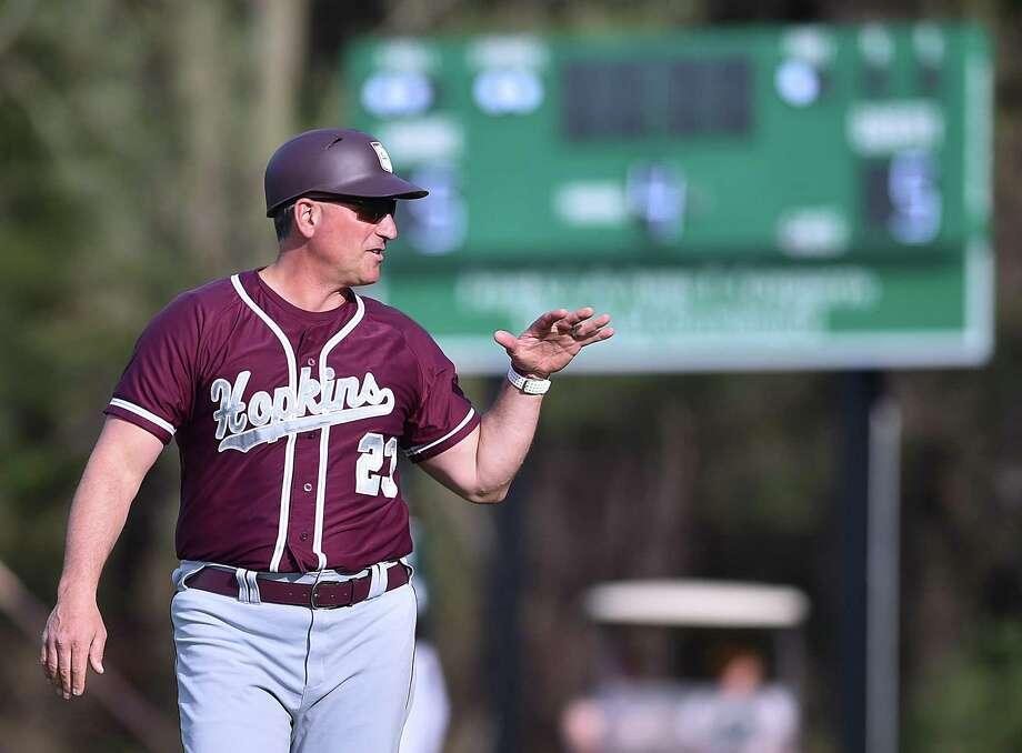 Hopkins baseball coach and athletic director Rocco DeMaio during a game against Hamden Hall in 2018. Photo: Hearst Connecticut Media File Photo / New Haven Register
