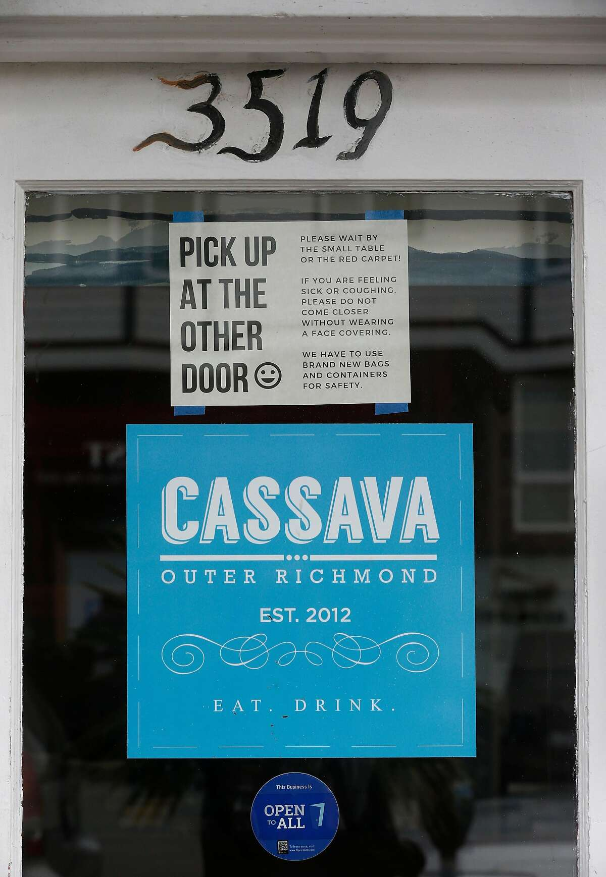 Cassava restaurant on Balboa Street is serving to-go meals only in San Francisco, Calif. on Wednesday, April 8, 2020. Cassava owners have had some of their small business insurance claims denied as the restaurant struggles to stay open by serving take-out orders only during the coronavirus pandemic.
