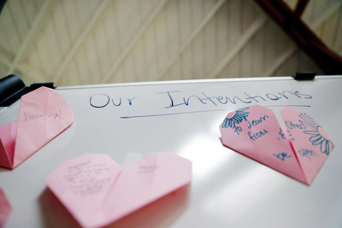 Decorations on a white board at La Casa De Las Madres in San Francisco, Calif., on Tuesday, April 7, 2020. The shelter in place order appears to be leading to an increase in domestic violence cases even though calls are not up drastically since some victims and survivors are even more afraid or unable to call or text for help.