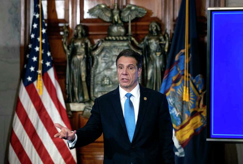 Gov. Andrew Cuomo provides a coronavirus update during a press conference on Wednesday, April 8, 2020, in the Red Room at the Capitol in Albany, N.Y.