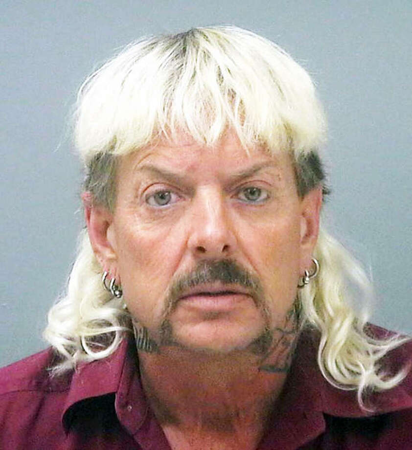 "This undated file photo provided by the Santa Rose County Jail in Milton, Florida, shows Joseph Maldonado-Passage, also known as ""Joe Exotic."" Maldonado-Passage, a former Oklahoma zookeeper sentenced to 22 years in prison for his role in a murder-for-hire plot has filed a federal lawsuit seeking nearly $94 million in damages. Maldonado-Passage, filed the lawsuit March 17, 2020, in federal court in Oklahoma City. Photo: (Santa Rosa County Jail Via AP, File)"