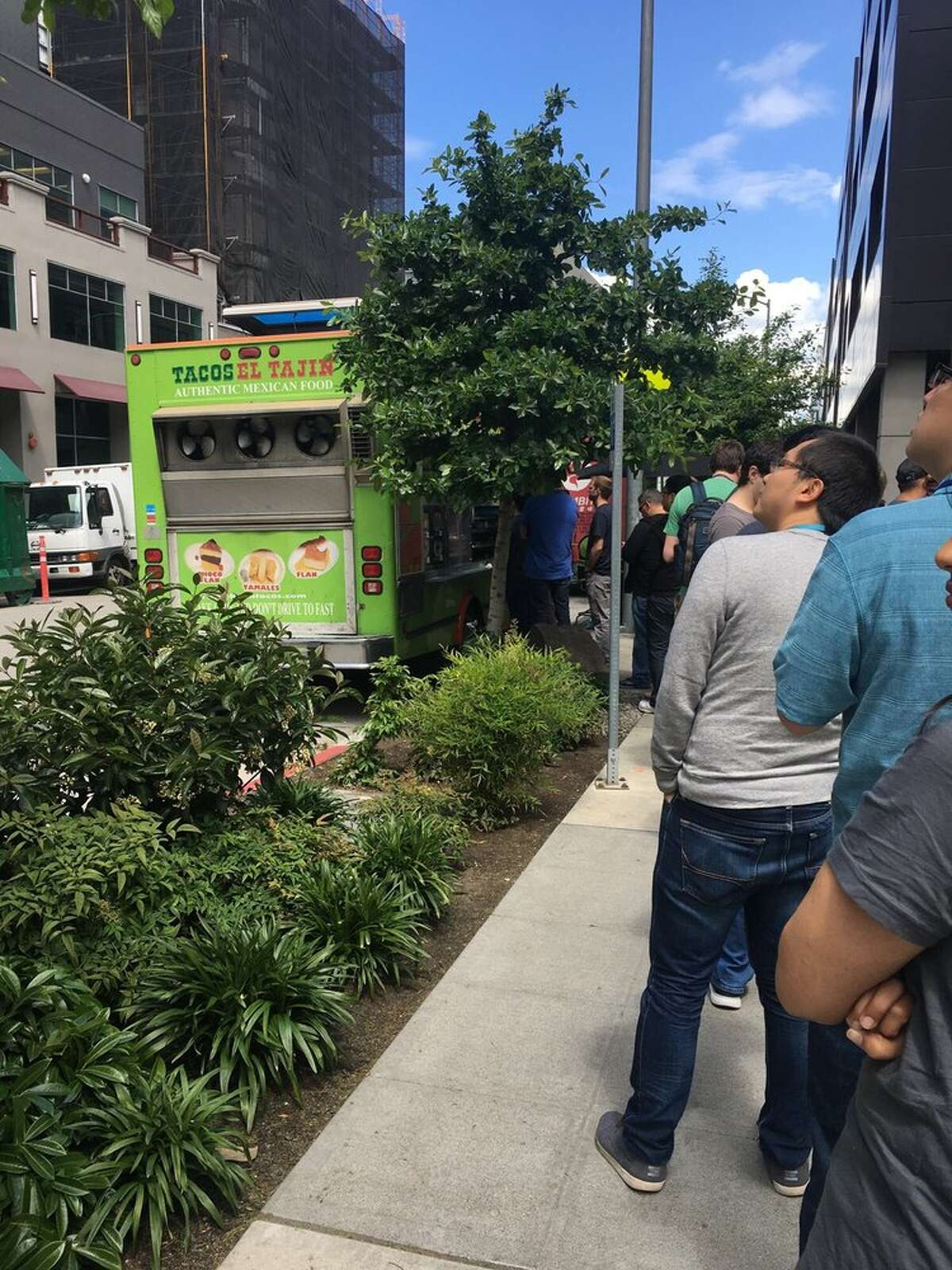 The lunchtime line at the Tacos ElTajinfood truck in Seattle, Wash.