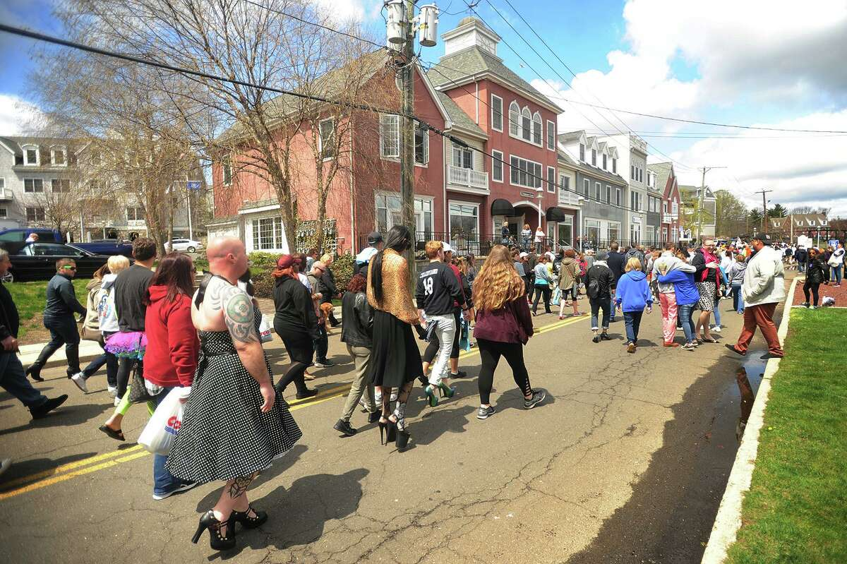 File photo of the annual Walk A Mile In Her Shoes event in Milford, Conn., taken on Sunday, April 29, 2018.