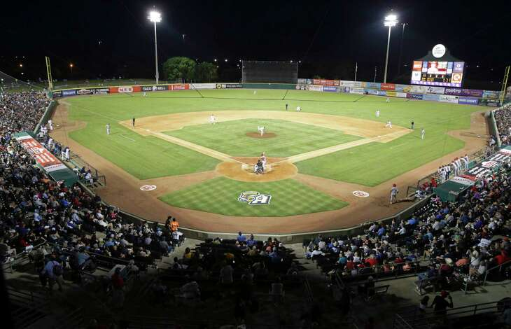 Fans fill most of the stands as the Missions open the season at home against the Memphis Redbirds on April 9, 2019.
