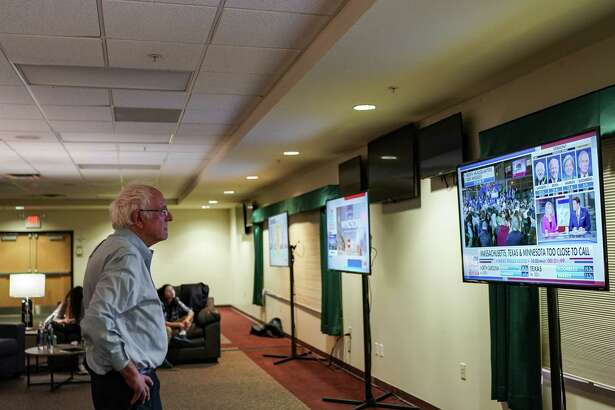 Sen. Bernie Sanders, I-Vt., watches Super Tuesday results in Essex Junction, Vermont, on March 3, 2020.