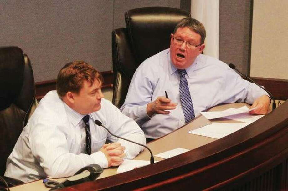 Madison County Auditor Rick Faccin, right, addresses Finance and Governmental Operations Committee Chairman Don Moore, R-Troy, during a meeting last year. Photo: Scott Cousins | Telegraph File Photo