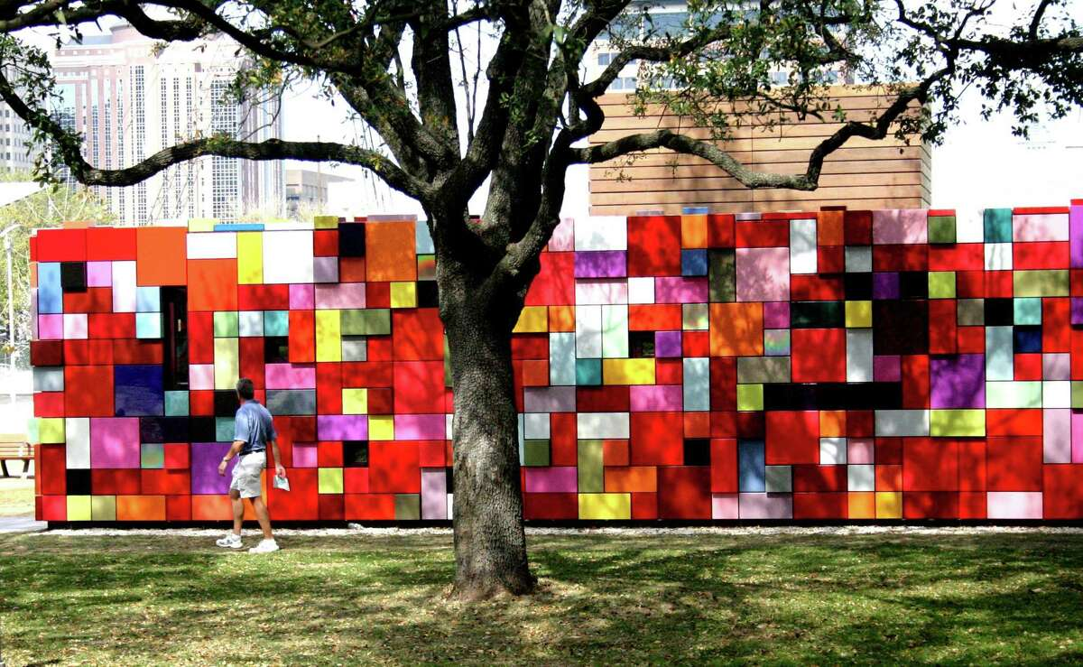 """""""Synchronicity of Color,"""" an installation by Austin artist Margo Sawyer, turns a stairwell to a parking garage into a giant showpiece at Discovery Green."""