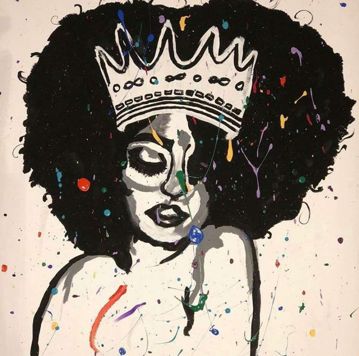 Paintings by Spring High School student Divine Decuir.