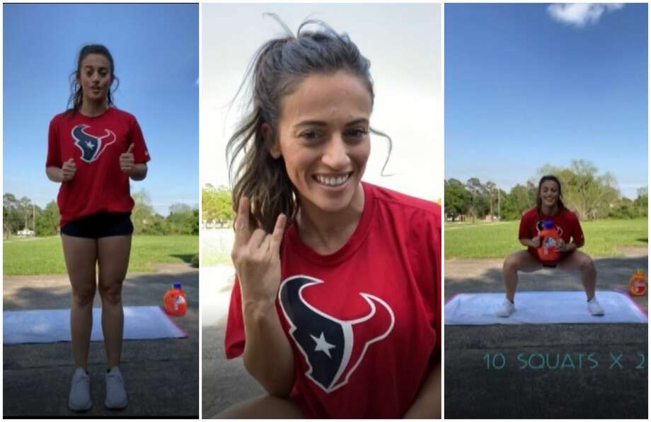 The Home Stretch: Houston Texans cheerleader Torrey shows off a 5-minute total body workout. Photo: Houston Texans