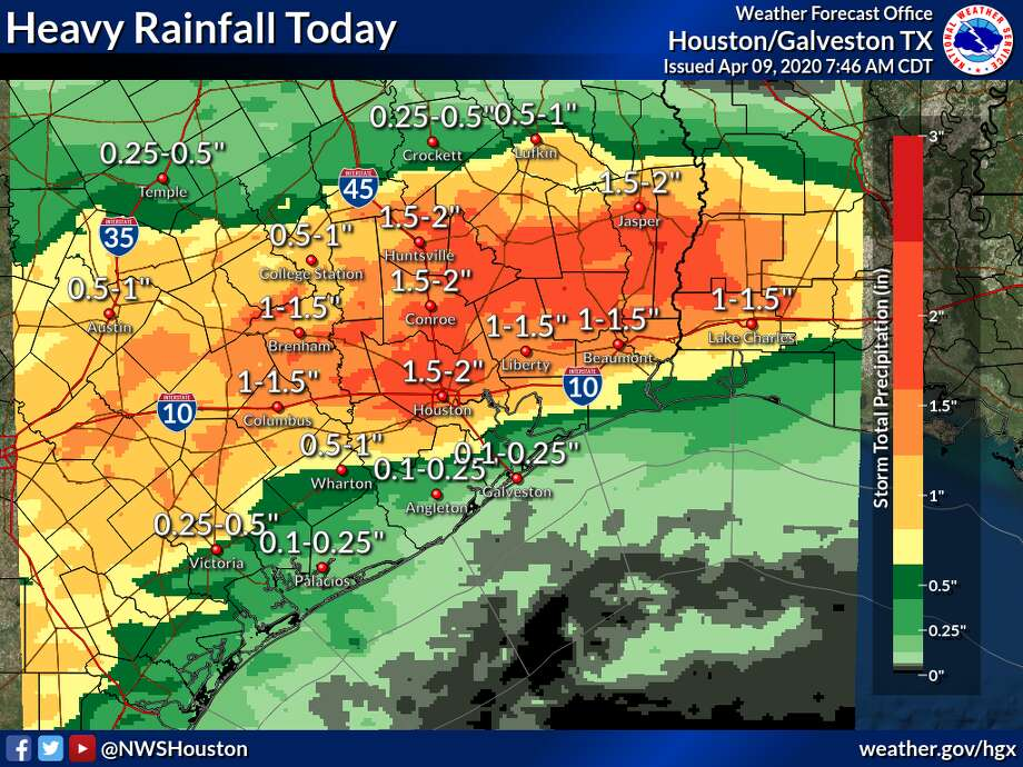 The National Weather Service predicts these rainfall estimates for a severe weather system blowing through Houston on Thursday, April 9, 2020. Photo: National Weather Service