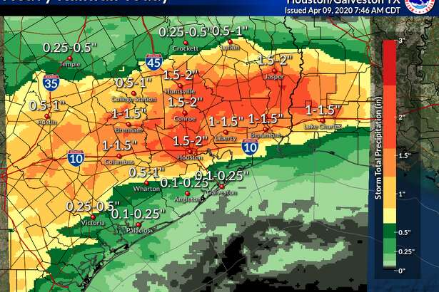 The National Weather Service predicts these rainfall estimates for a severe weather system blowing through Houston on Thursday, April 9, 2020.