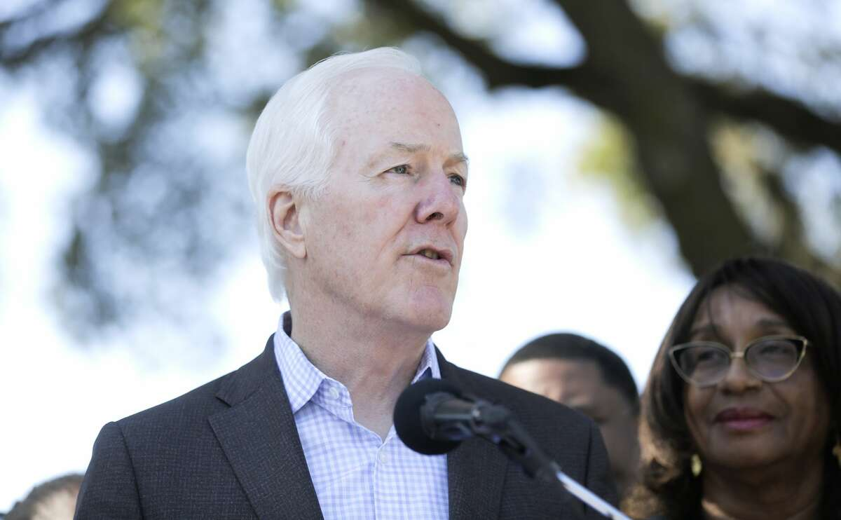 U.S. Senator John Cornyn (R-TX) addresses attendees with U.S. Congresswoman Sheila Jackson Lee (TX-18) and other leaders during a press conference recognizing both their efforts toward securing an Emancipation National Historic Trail designation on Friday, March 6, 2020.