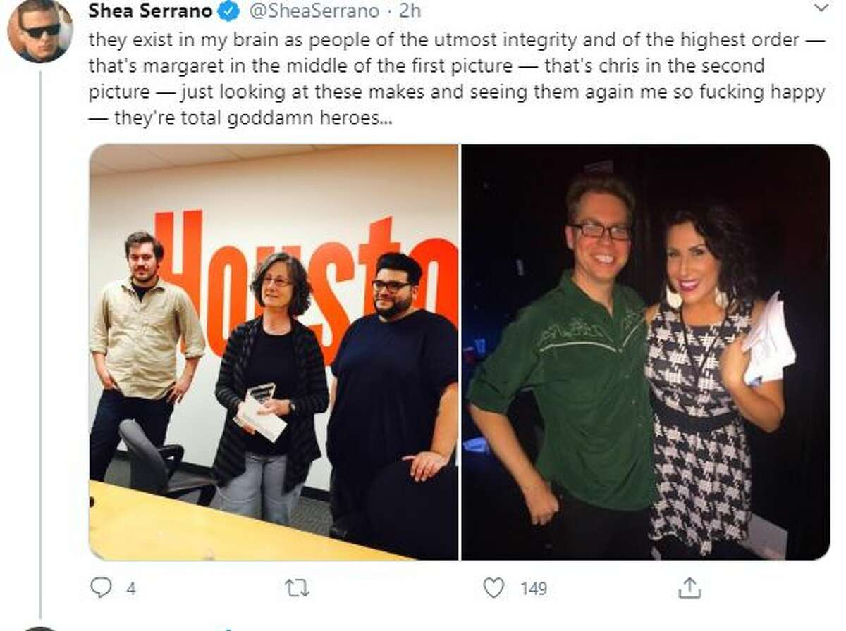 On Thursday morning, Serrano launched a campaign via Twitter to help the Houston Press during a time of dire need in the coronavirus pandemic.