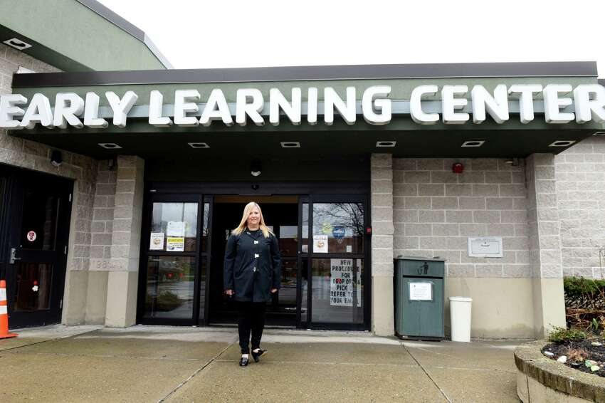 Deborah Round, executive director of the YMCA KidzLodge Early Learning Center, is pictured outside the facility on Thursday, April 9, 2020, in Clifton Park, N.Y. (Will Waldron/Times Union)