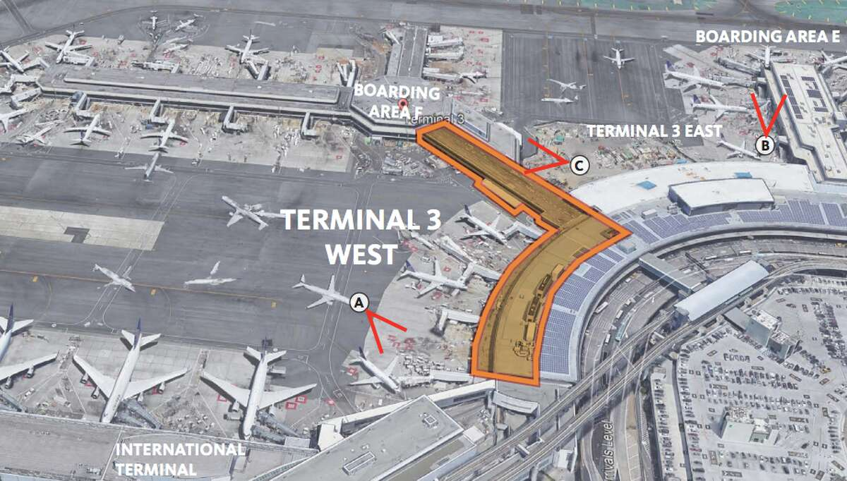 This is the area in United's Terminal 3 at SFO that is set for a $1 billion renovation