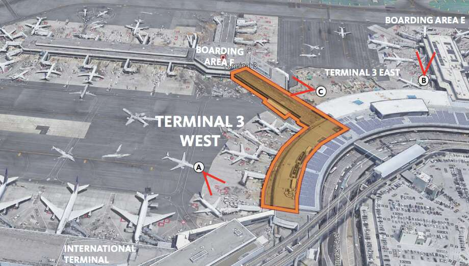 This is the area in United's Terminal 3 at SFO that is set for a $1 billion renovation Photo: SFO