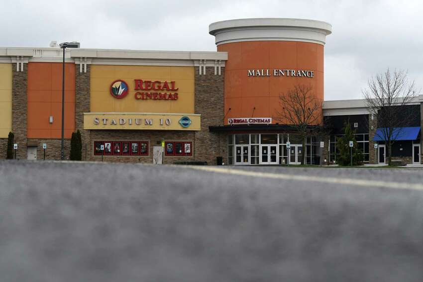 An empty parking lot is seen at the Clifton Park Center shopping mall during the coronavirus lockdown on Thursday, April 9, 2020, in Clifton Park, N.Y. New York's jobless claims over the past three weeks now nearing 800,000. (Will Waldron/Times Union)