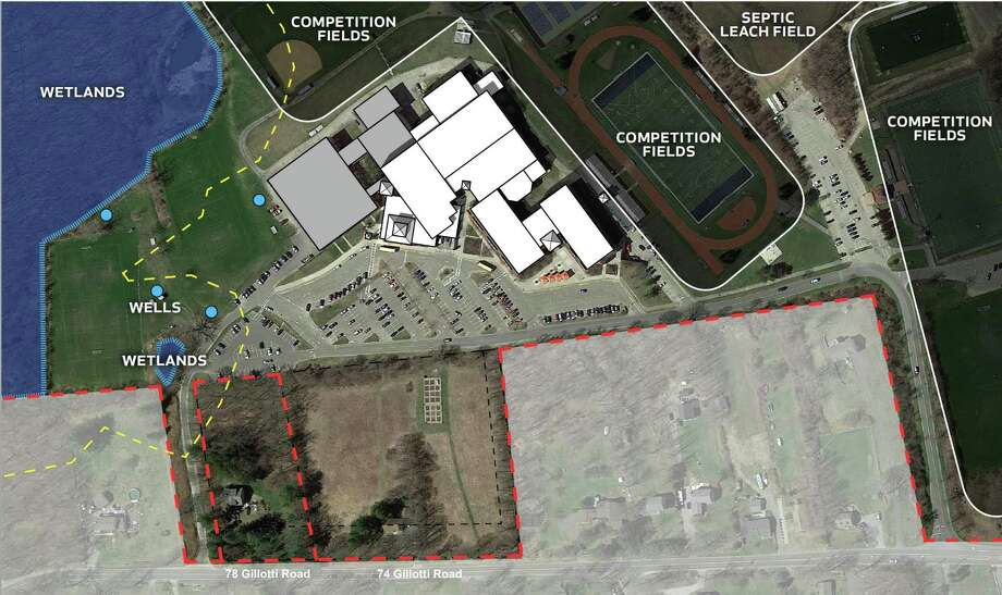 Current site extents of New Faifield High School, 78 Gillotti Road and 74 Gillotti Road in New Fairfield, Conn. Photo: JCJ Architecture