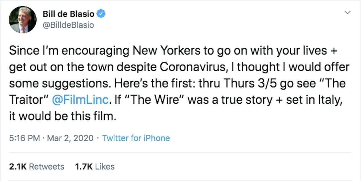 New York Mayor Bill deBlasiotweeted about thecoronaviruson March 2, 2020.