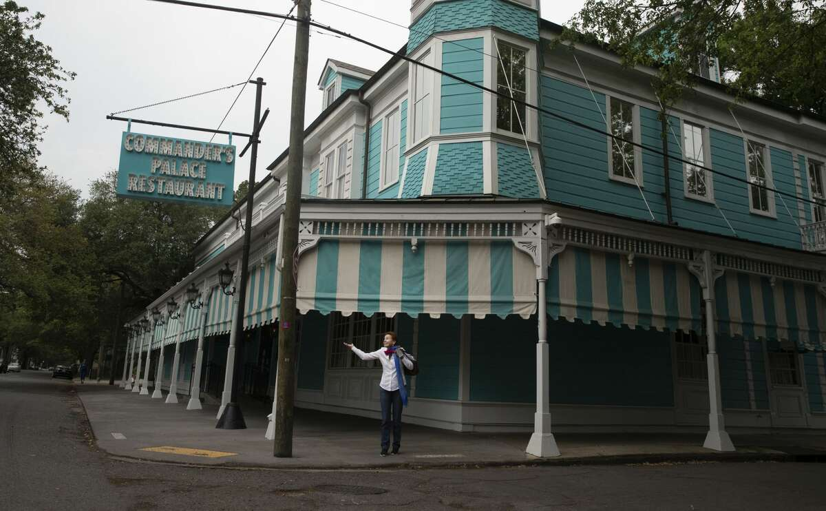 Ti Adelaide Martin, co-proprietor of Commander's Palace, stands outside the closed restaurant in New Orleans, Louisiana, U.S., on Wednesday, April 8, 2020.