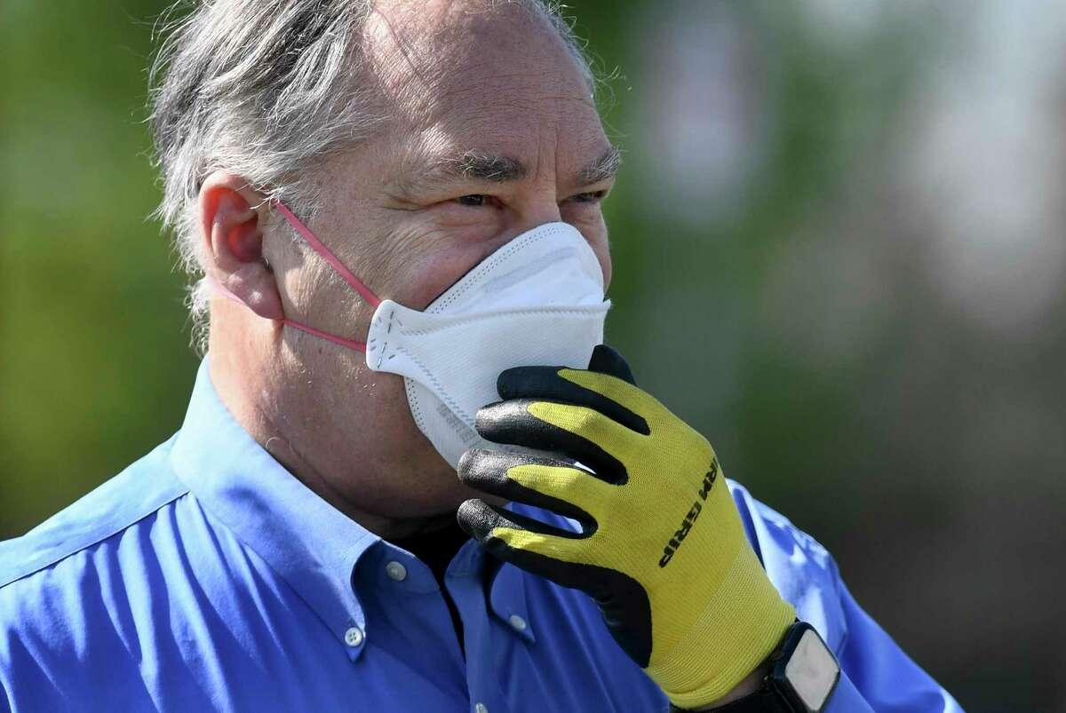 Montgomery County, Maryland, Executive Marc Elrich wears a mask before discussing a recently opened drive-through coronavirus testing site on Tuesday, April 7, 2020.