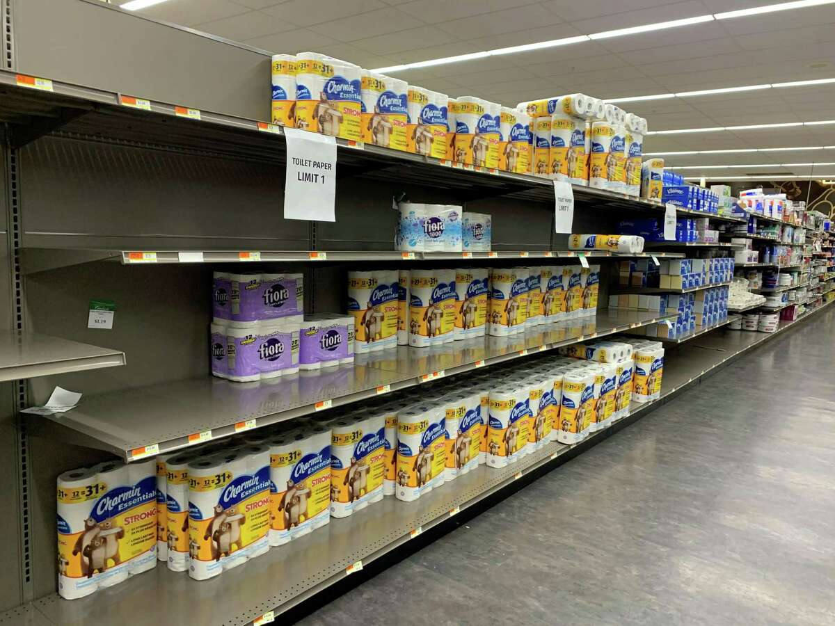 Toilet paper was available at Caraluzzi's Bethel Food Market Wednesday morning, a rare sight in grocery stores these recent weeks.