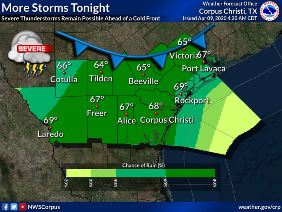 Scattered to numerous thunderstorms are expected ahead of a cold front tonight, with severe storms still possible at times. Lows will fall into the 60s under mostly cloudy skies. Photo: National Weather Service