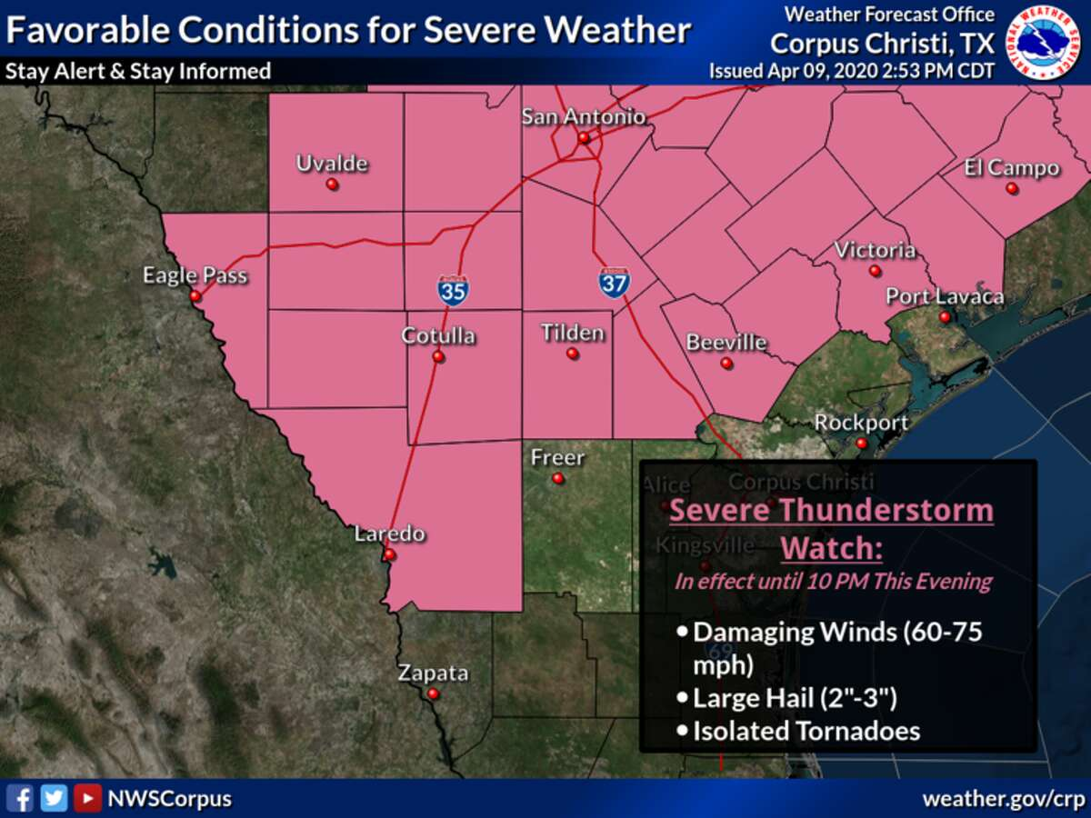 A Severe Thunderstorm Watch is in effect until 10 PM this evening from the western Brush Country to the Victoria Crossroads. Severe thunderstorms will be capable of producing large hail up to 3 inches in diameter and damaging wind gusts up to 75 mph.